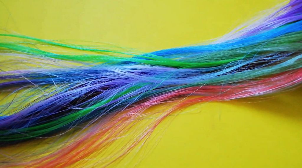Picture of DIY Fake Hair Using Ribbons