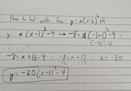 How to Find the Vertex Form: