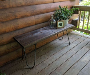 Rustic Industrial Hairpin Bench