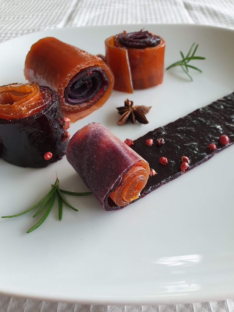 Picture of Plum and Apricot Fruit Leather Candy