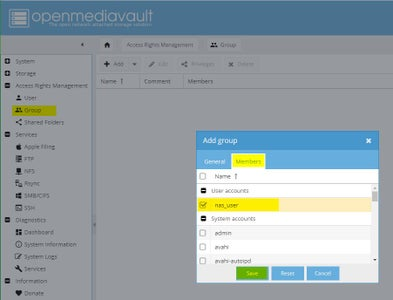 Configuring OMV: Access Rights Management