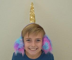 Unicorn Fur Earmuffs W/ Light up horn