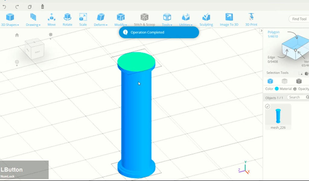 Picture of Use Extrusion and Scale to Create Basic Pillar Model