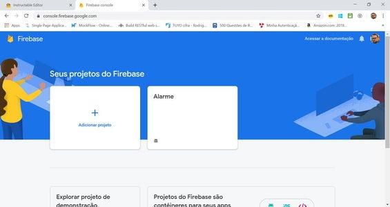 Firebase Passo 1 De 8: Criar Novo Projeto No Google Firebase