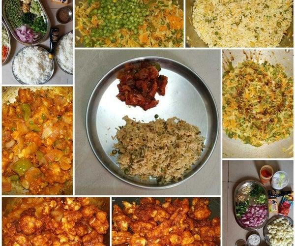 Veg Fried Rice With Gobi Manchurian