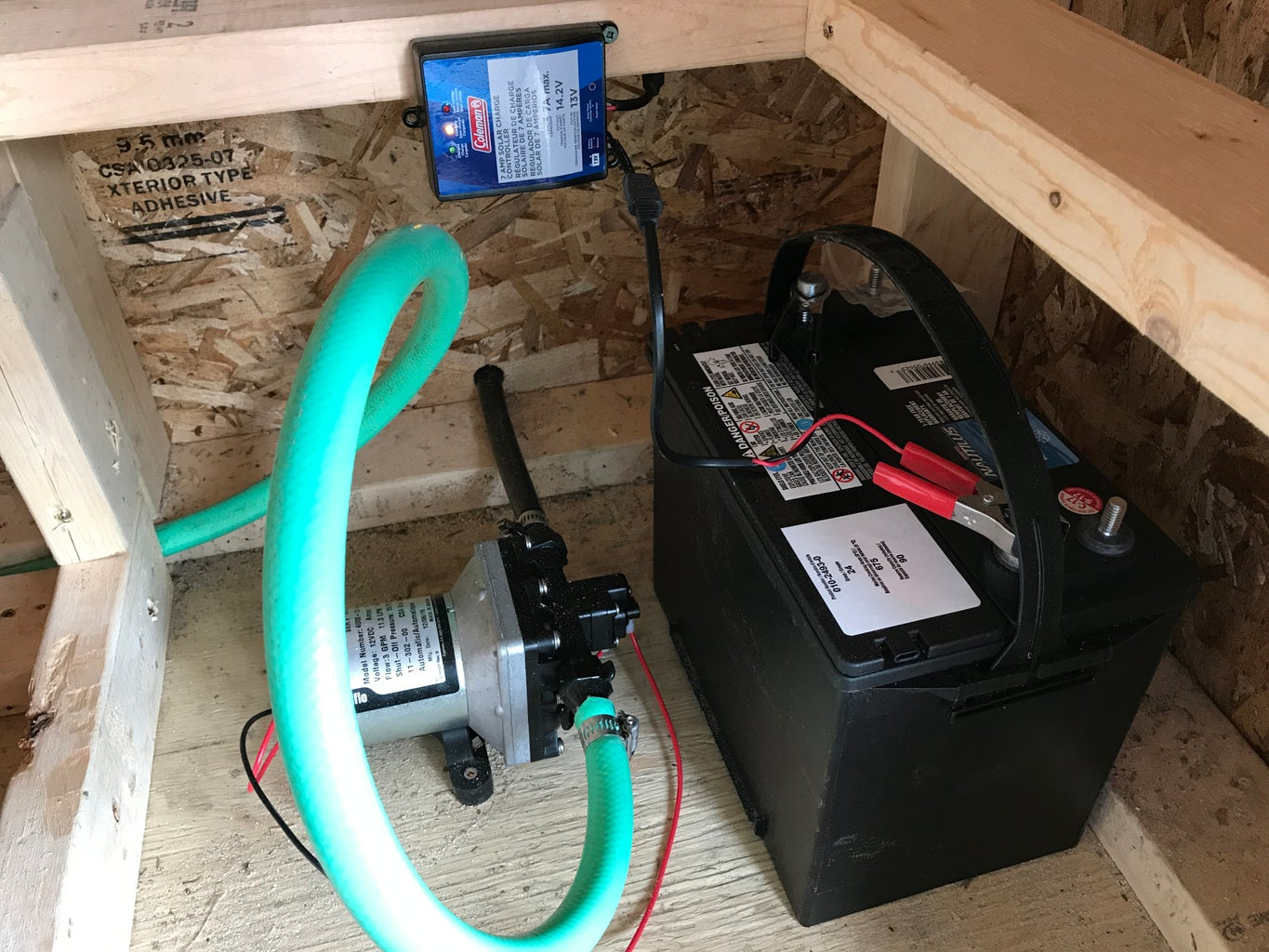 RV Water Pump and Battery