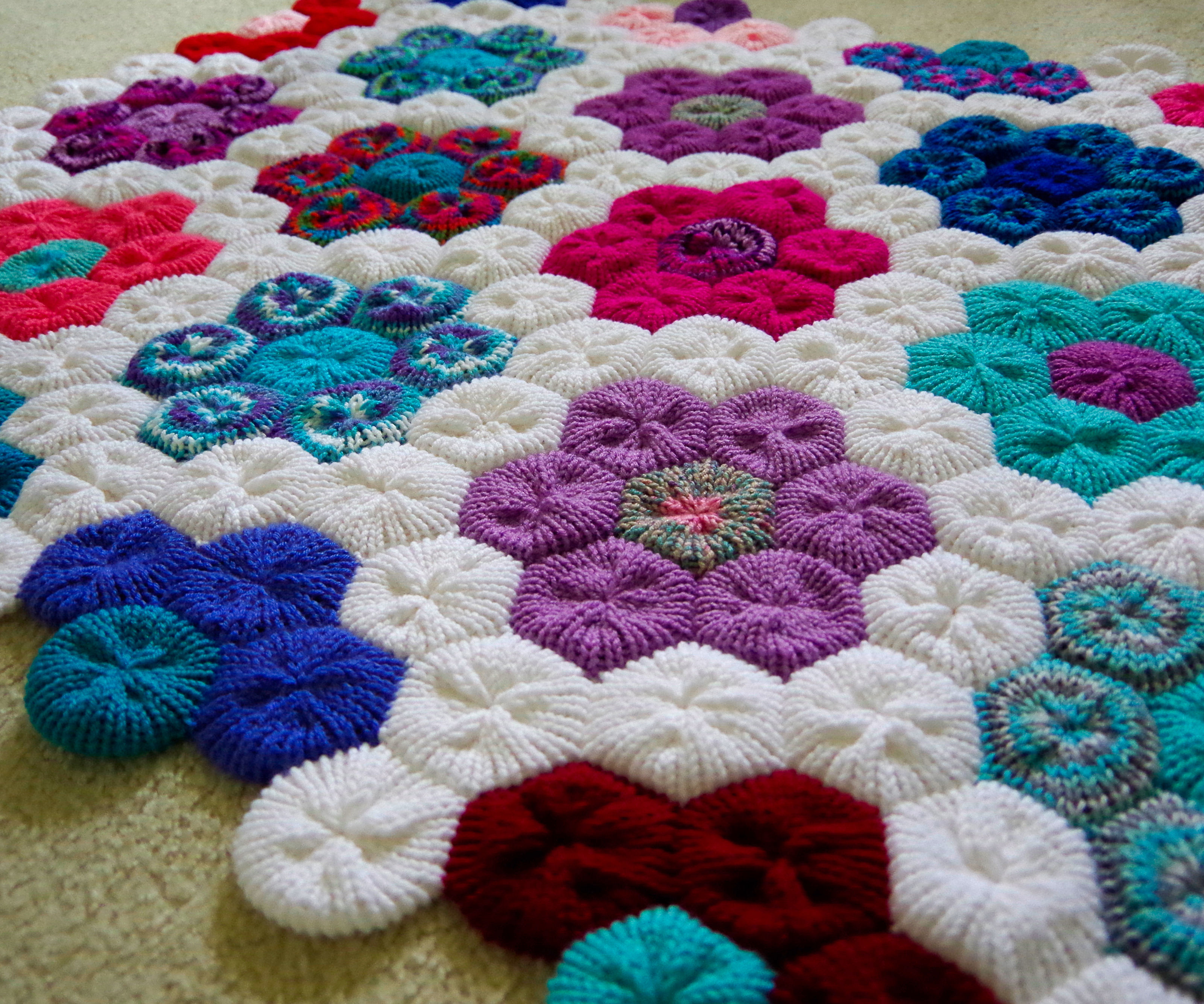 Hexagon Flower Afghan or Rug