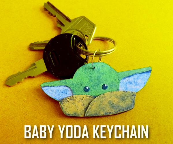 Baby Yoda Cardboard Keychain