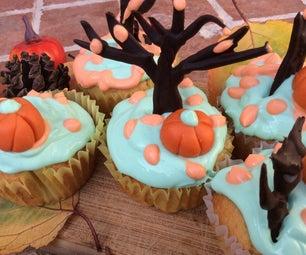 万圣节Pum蛋糕树丛秋天蛋糕