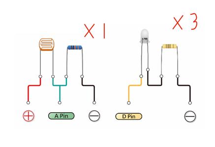 Part 1 - Photoresistance + Yellow LEDs
