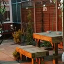 garden bench and stools