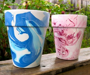 Nail Polish Marbled Flower Pots