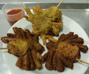 Not So Vegan Fried Tarantulas on a Stick