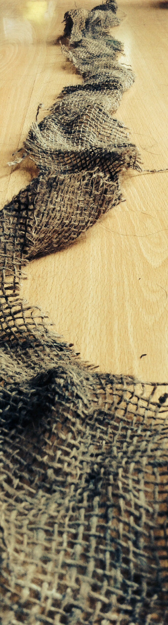 Cutting the Burlap to Size.