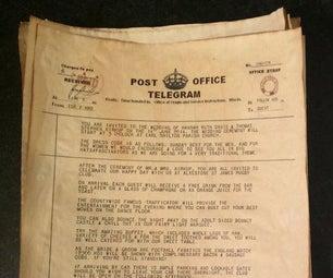 Hand Made, Vintage English Telegram/Telegraph Theme, Wedding Invitations.