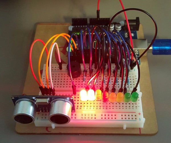 Distance Detector With Buzzer and LED Meter.