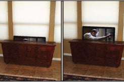 Disappearing Tv With Pop Up Tv Lift Mounted Behind Furniture 8 Steps With Pictures Instructables