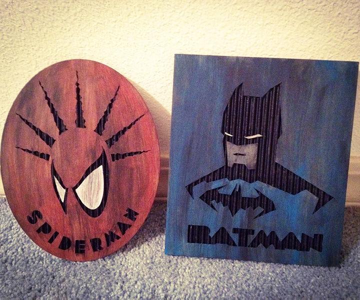 Laser Etched Spiderman & Batman Cardboard Art