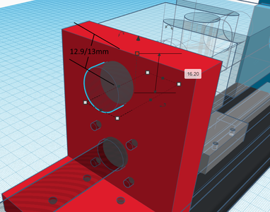 Design Process - Moving Load Cell Mount - Load Cell Mounting Hole
