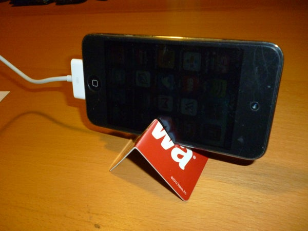 Super Easy Ipod or Cell Phone Stand From Used Gift Card
