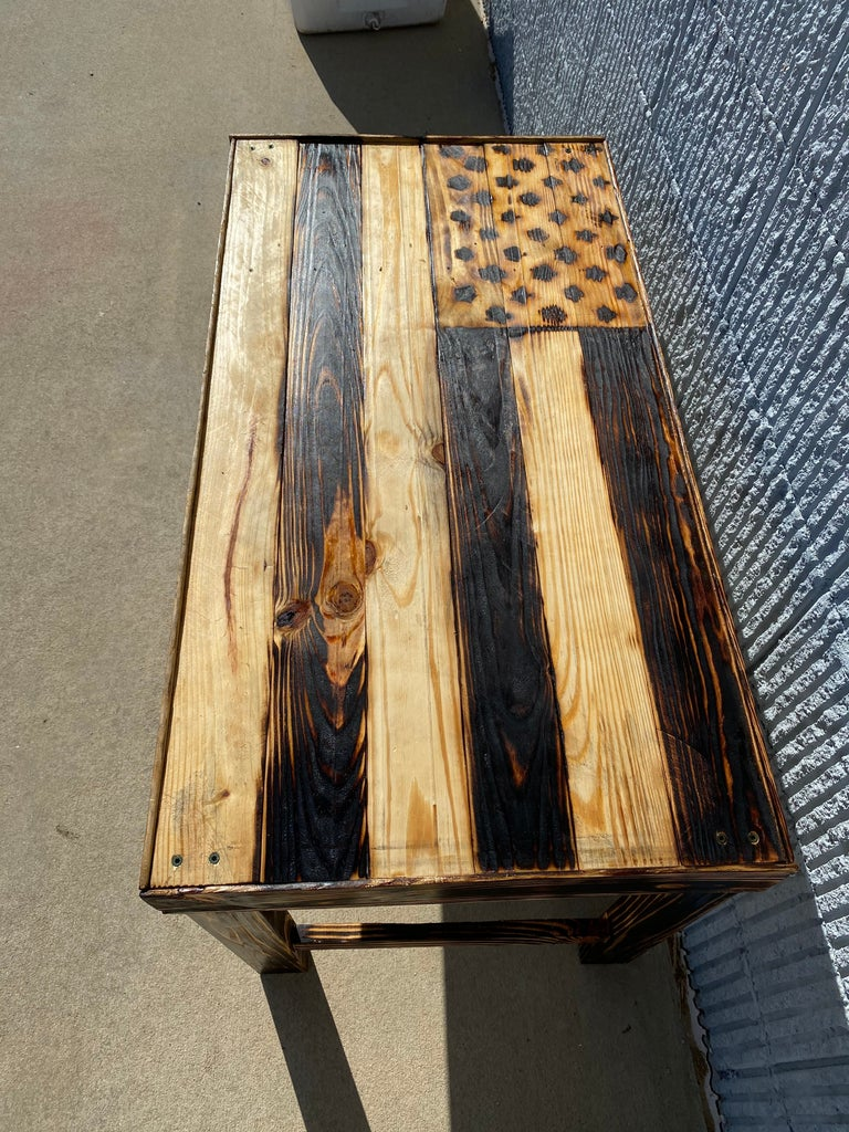Torched American Flag Table