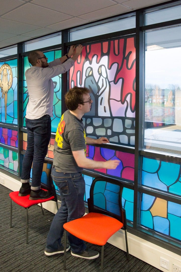We Started by Designing 20 Acetate 'stained Glass' Windows: