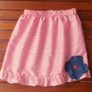 Ruffled gingham skirt (red)