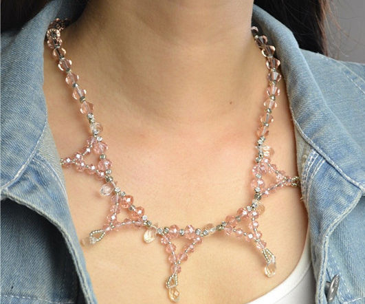 How to Make Wedding Crystal Necklace with Clear Glass Beads