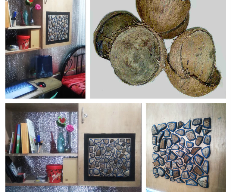 Coconut Shell to Mosaic Art, Room Decoration!!!