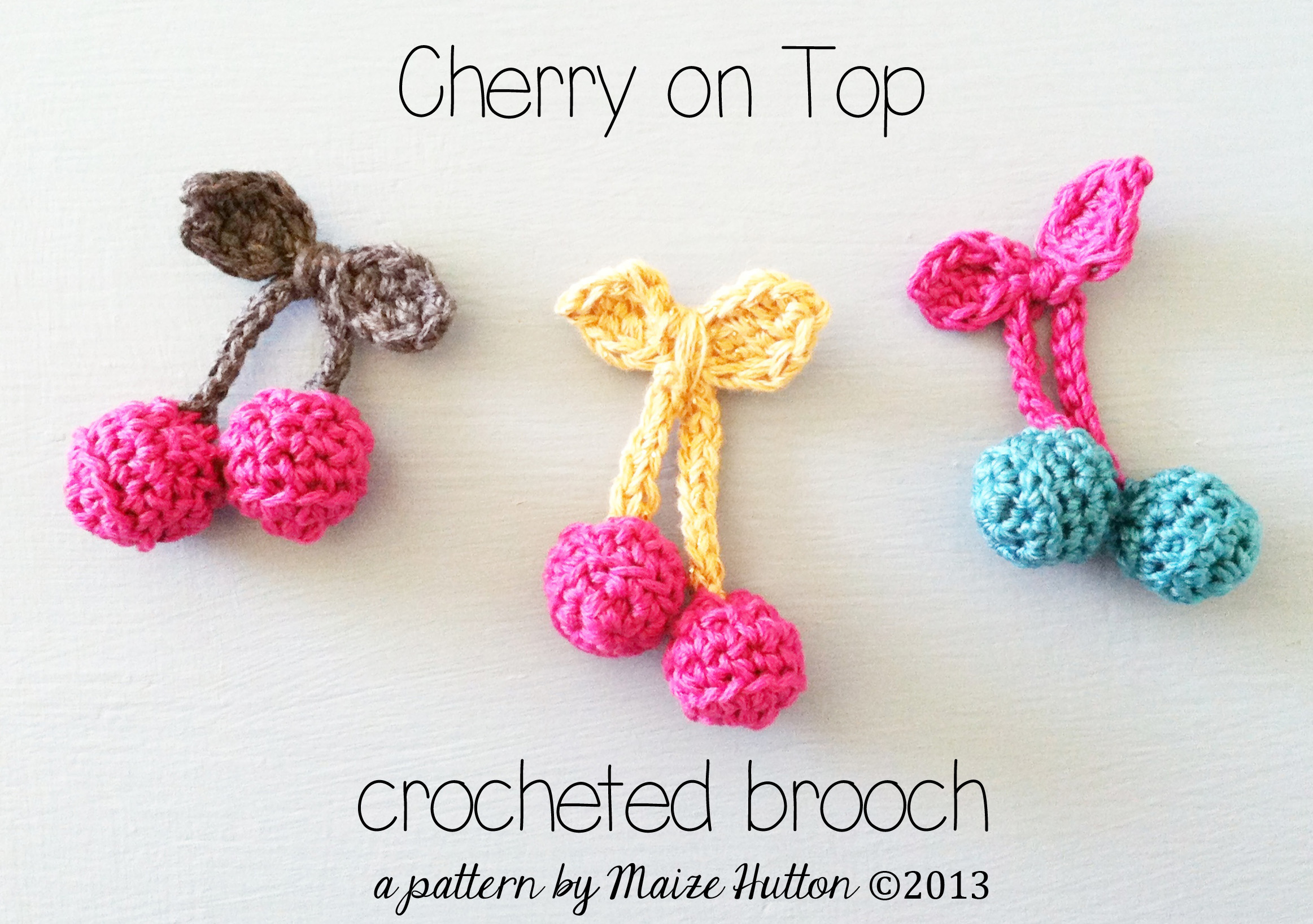 Cherry on Top Crocheted Brooch