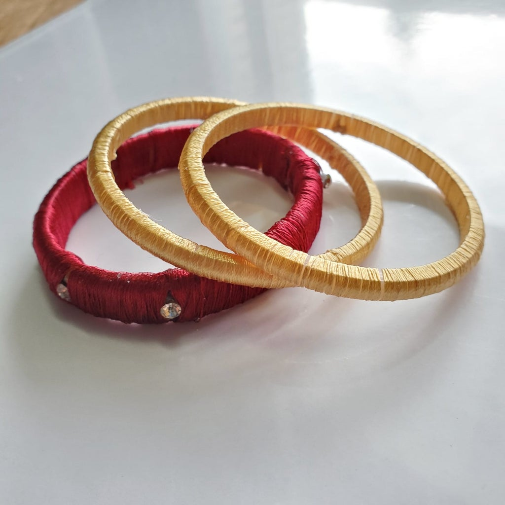 Beautiful & Elegant Threaded Bangles & Earrings Using Shiny Silk Thread!