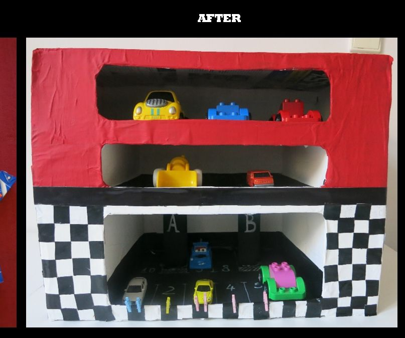 DIY multilevel toy parking from recycled materials