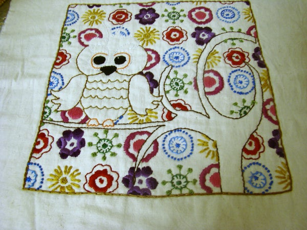 Embroidered Owl and Flowers