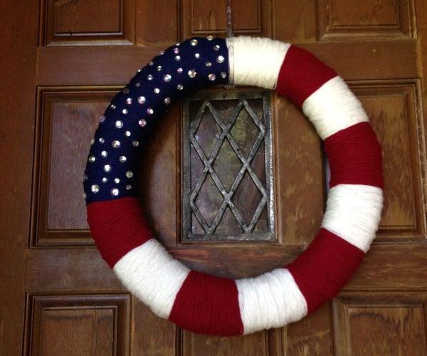 Yarn Patriotic Wreath