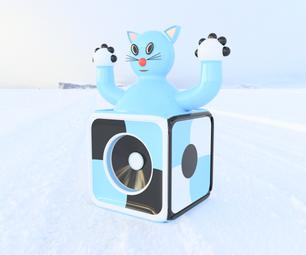"""""""Come-Come"""" Cat Inside Bose Cube"""
