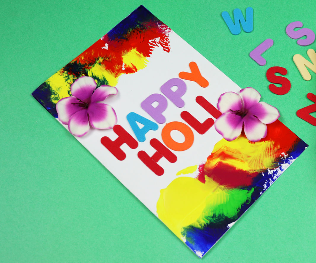 DIY Holi Greeting Card Idea 2019
