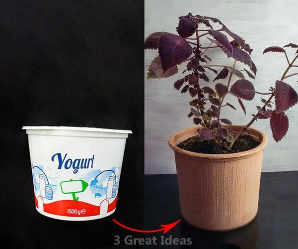 Clay Pot With Plastic Yoghurt Container, Recycle Project