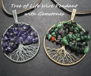 Tree of Life Wire Pendant With Gemstones