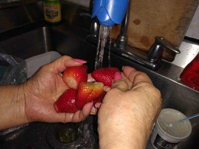 PASO 5: Después Se Pica El Cuarto De Fresas Y Se Colocan En Otro Molde, Luego Se Agrega La Mezcla Que Fue Licuada Anteriormente; Sobre Estas.