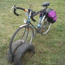Bicycle rack made out of old car tyres