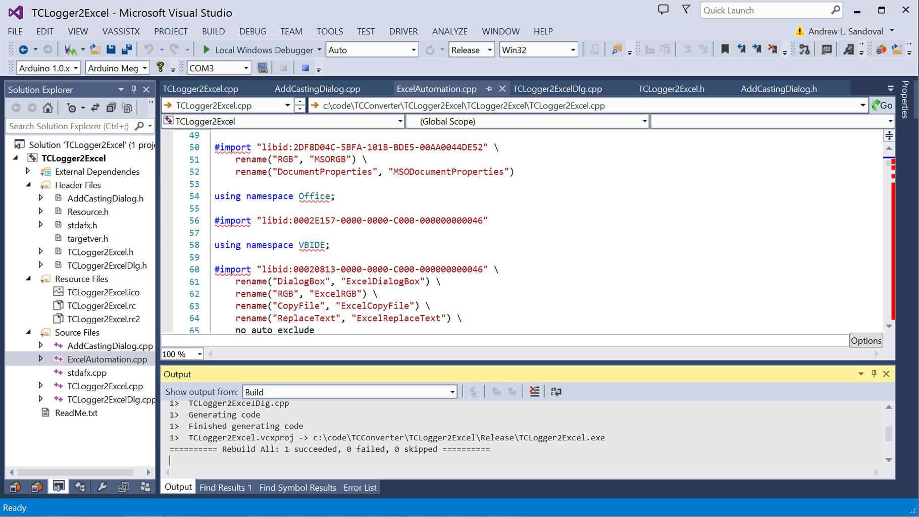 Building TCLogger2Excel in Microsoft Visual Studio 2013...