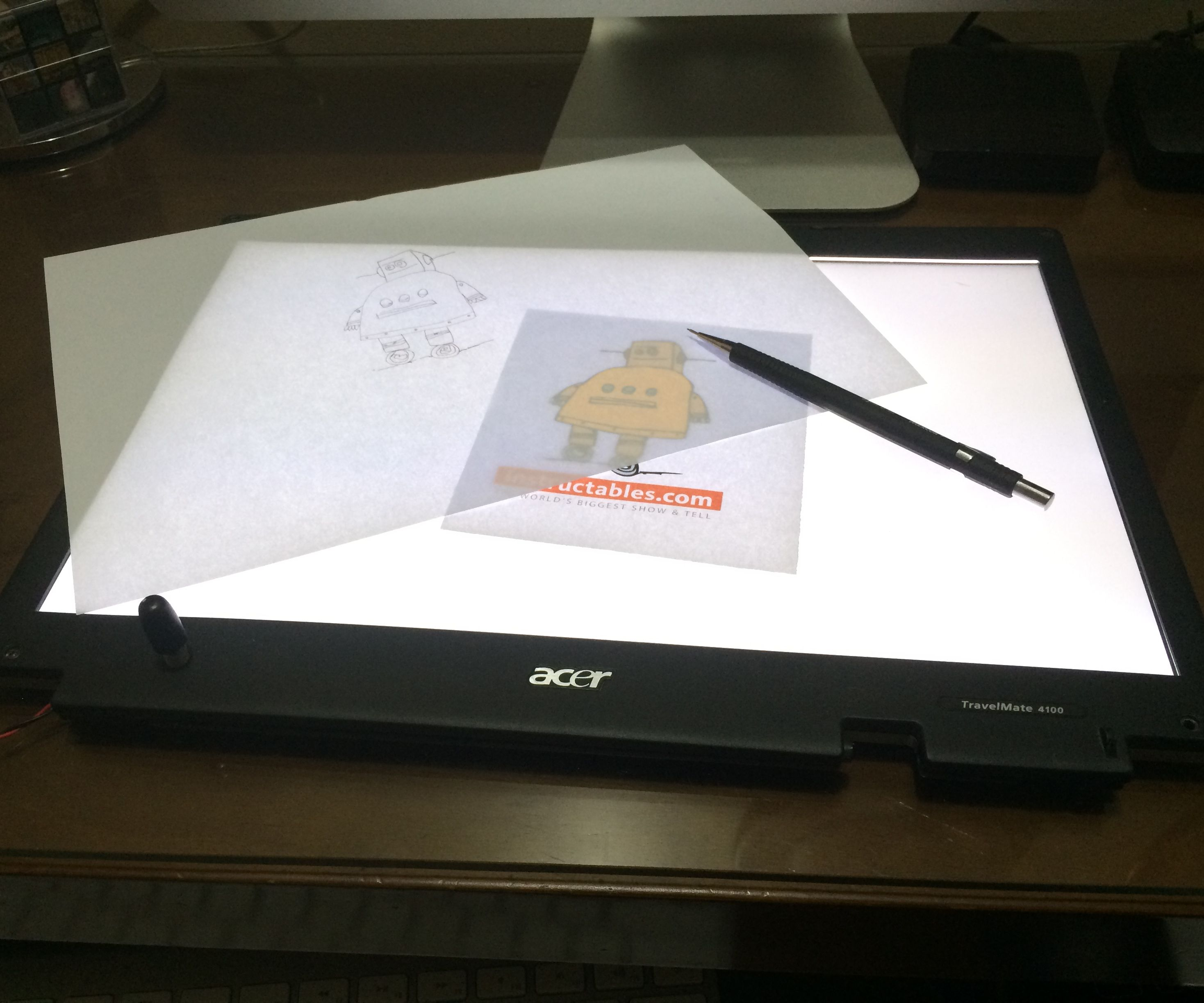 Turn a broken laptop screen into a portable light table for drawing