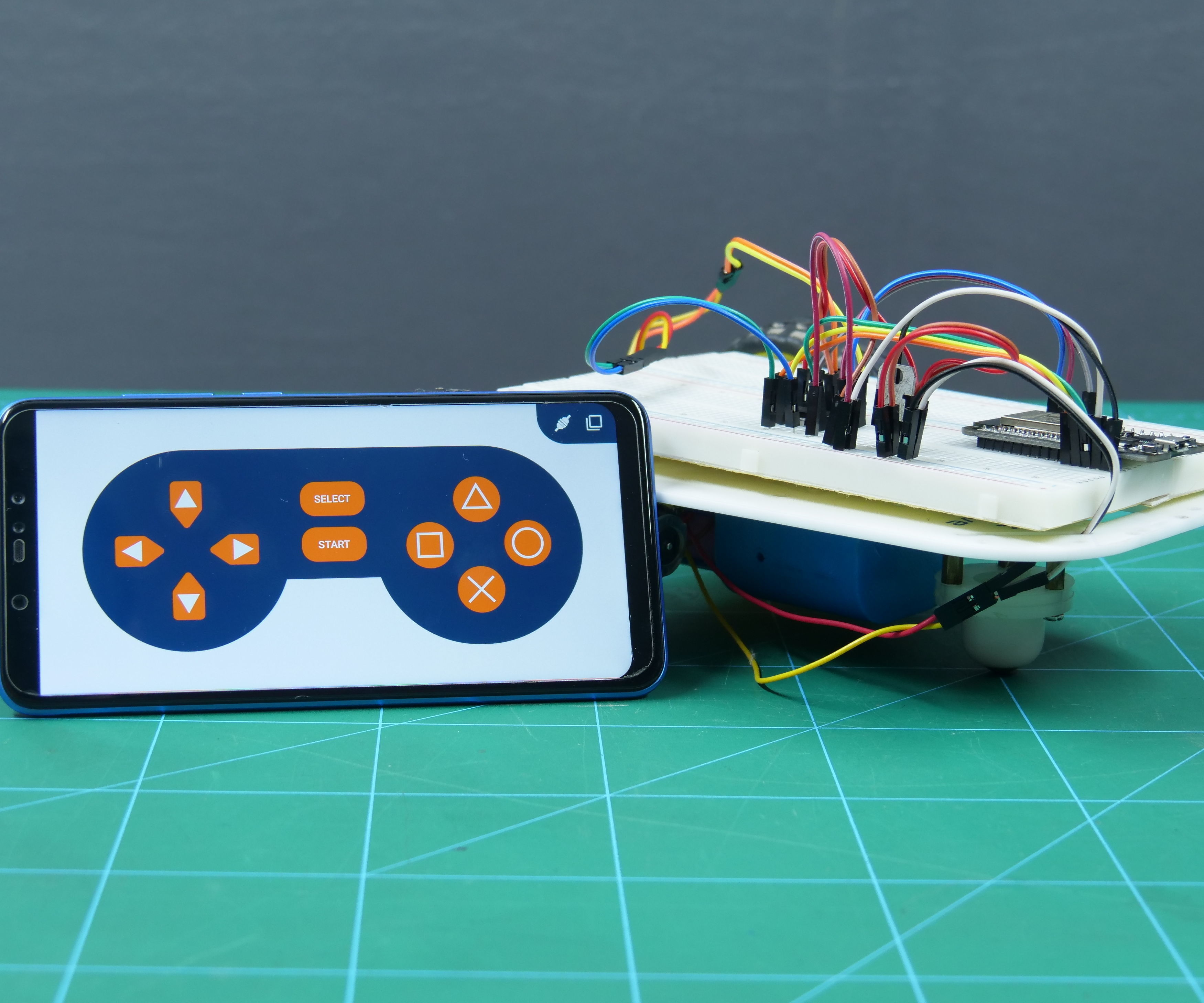 Mobile Controlled ESP32 Two-Wheel Drive Robot