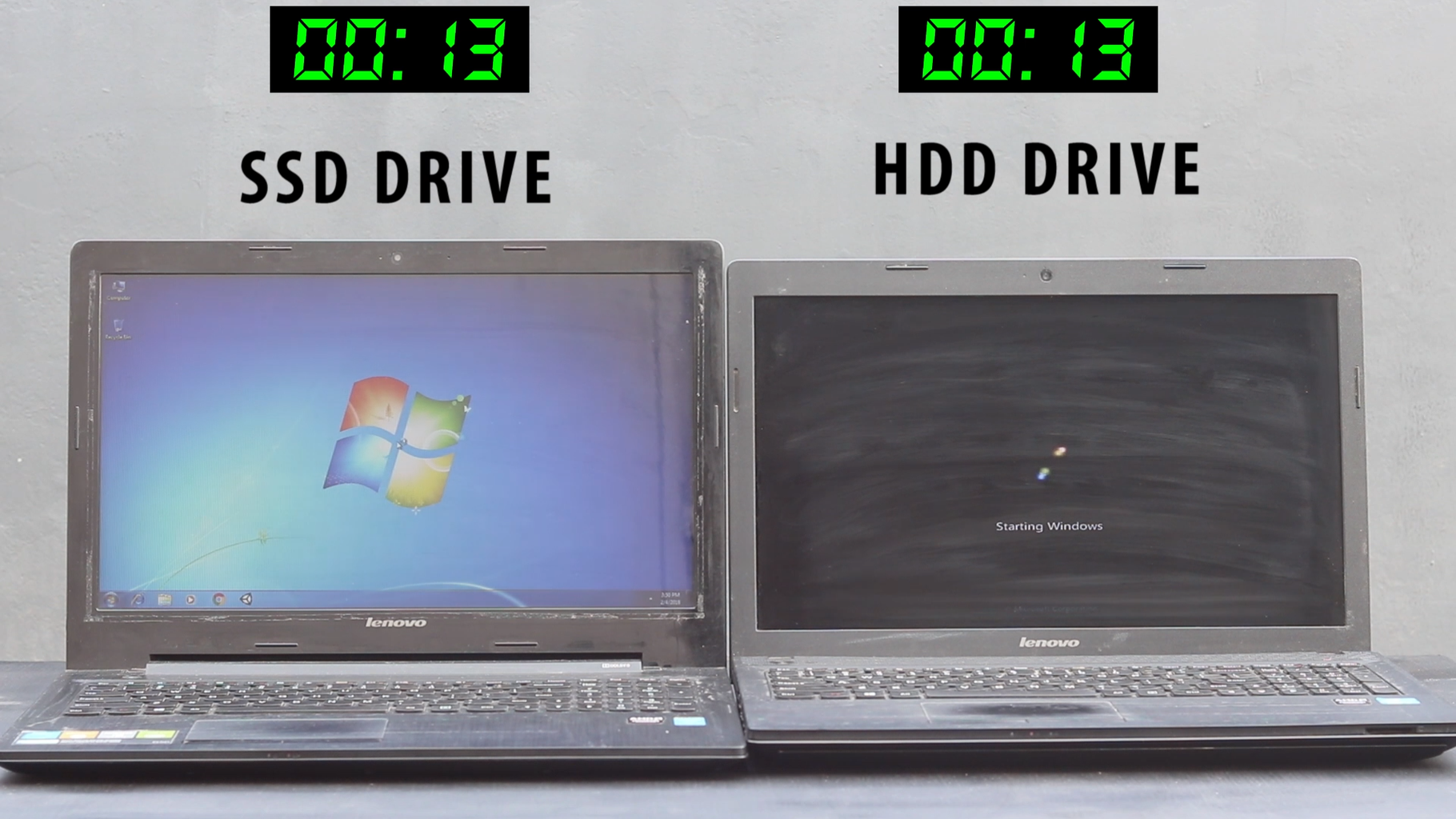 Test Speed of SSD and HDD.