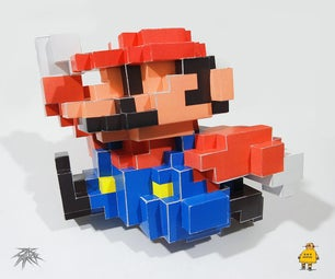 马里奥8位3D像素纸艺术