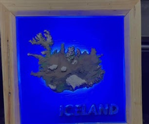RGB LED 3D Printed Iceland Topographic Map Inlayed W/Epoxy