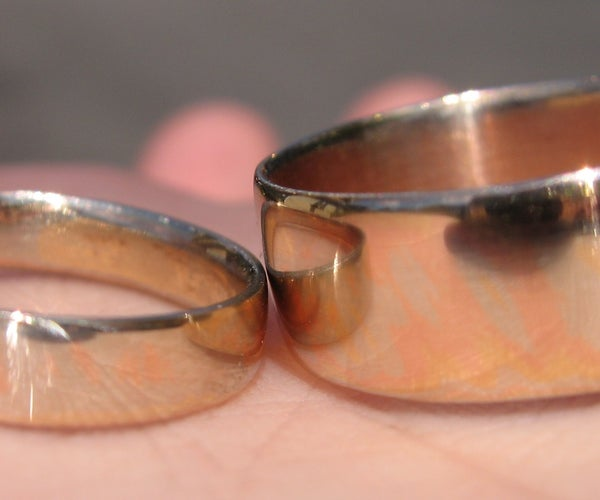 Matching 14kt Gold Mokume Gane Wedding Rings
