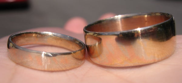 Matching 14kt Gold Mokume Gane Wedding Rings