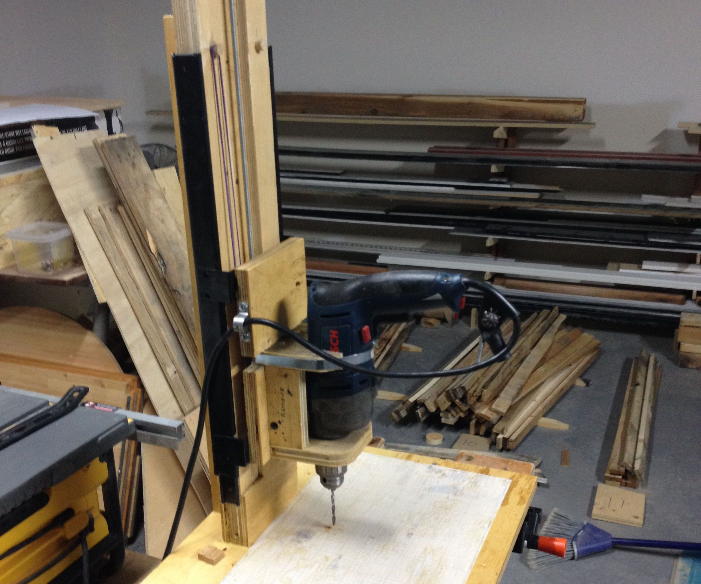 DIY Drill Press with Rubber Band Suspension