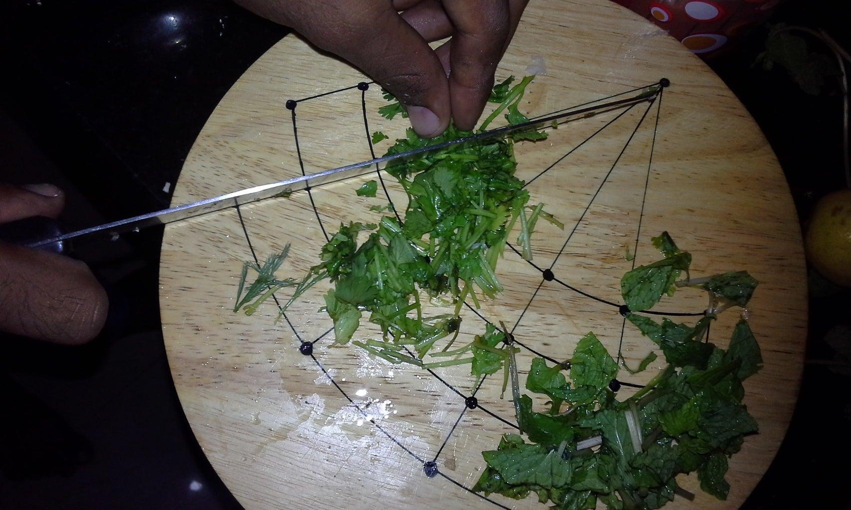 Cut the Koriander Leaves